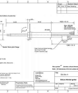 12 Volt Standard Igniter Glo12-40-TE1360 Drawings