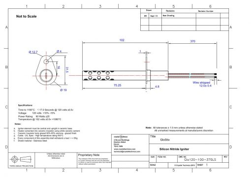 120 Volt Igniter With Long Shield Glo120-100-370LS  Drawings