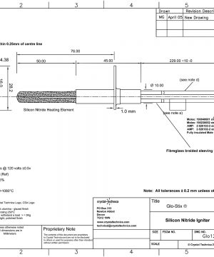 120 Volt Igniter Glo120-160-HH229QD Drawing