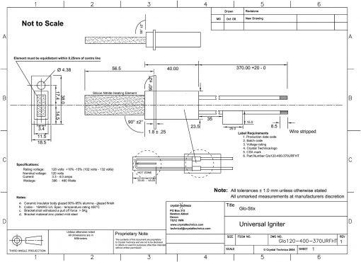 120 Volt Igniter Glo120-400-370URFHT Drawing