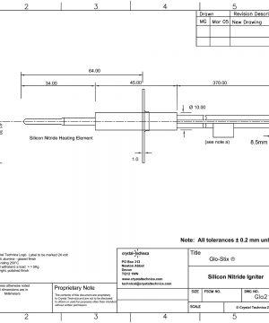 12 Volt Standard Igniter Glo12-50-370N Drawing