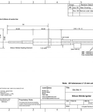 24 Volt Igniter Glo21-50-HH210QD Drawing