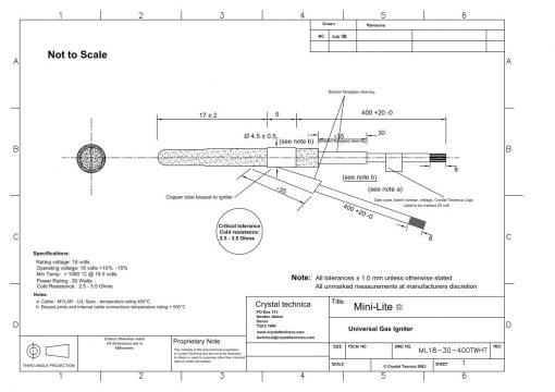 24 Volt Mini Igniter ML18-30-400TWHT - Drawings