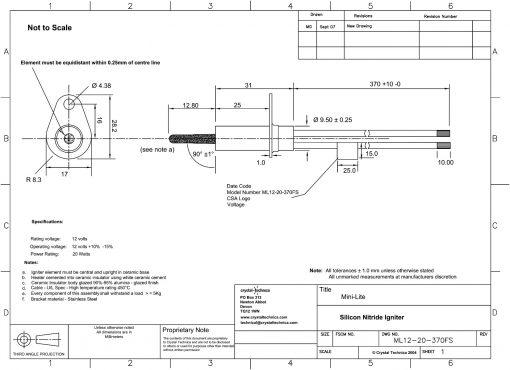 12 Volt Mini Igniter ML12-20-370FS Drawing