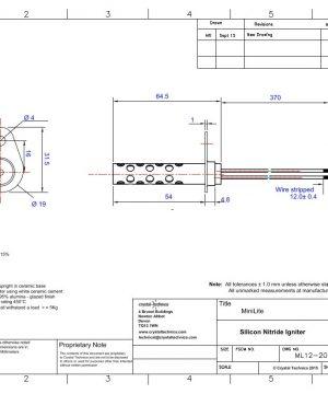 12 Volt Mini Igniter with Short Shield ML12-20-370SS Drawing