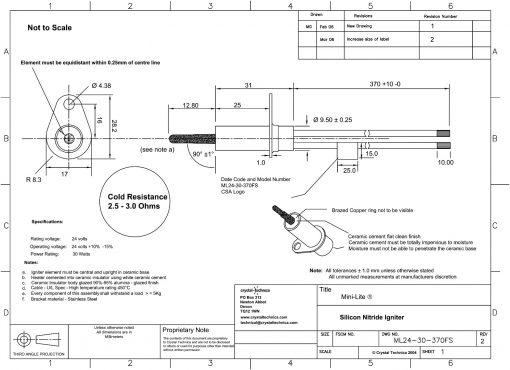 24 Volt Mini Igniter ML24-30-370FS Drawing