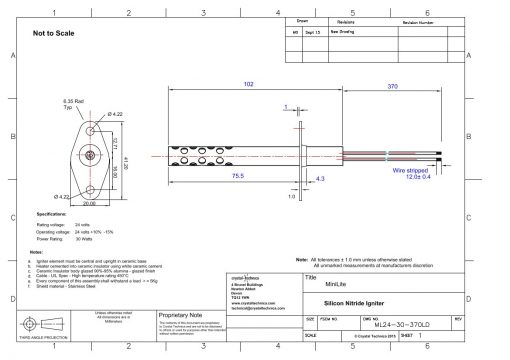 24 volt Mini Igniter with long shield ML24-30-370LD Drawings