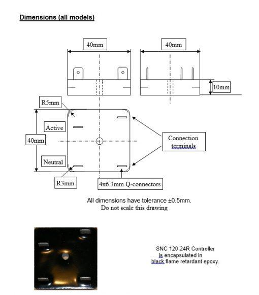 Digital Re-Igniter Flame Sensor Controller Dimensions